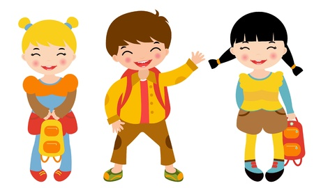 cute little girl smiling: School kids Illustration