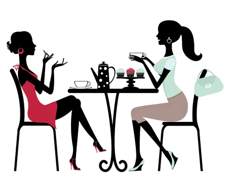 chatting: Two women in cafe