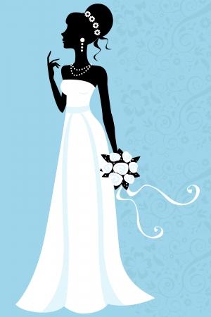 bride silhouette: Silhouette bride Illustration