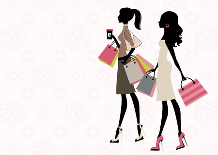 trendy: Two chick women shopping