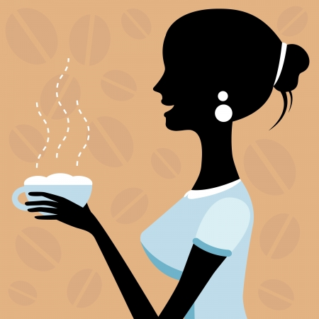 A illustration of a beautiful woman drinking coffee Vector