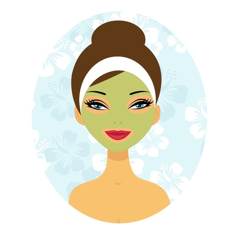 A illustration of a beautiful woman with a facial care mask Vector