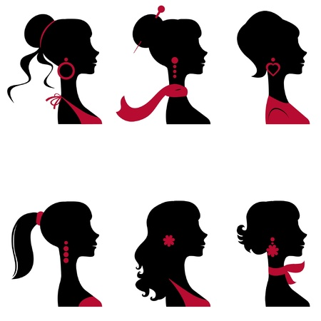 jewelry design: Beautiful women silhouettes set