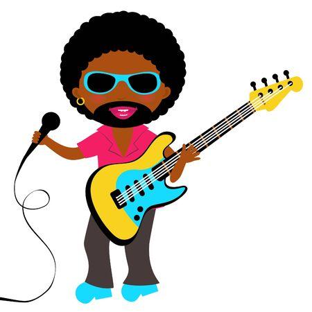 rockstar: Afro-Amerikaanse rockster Stock Illustratie