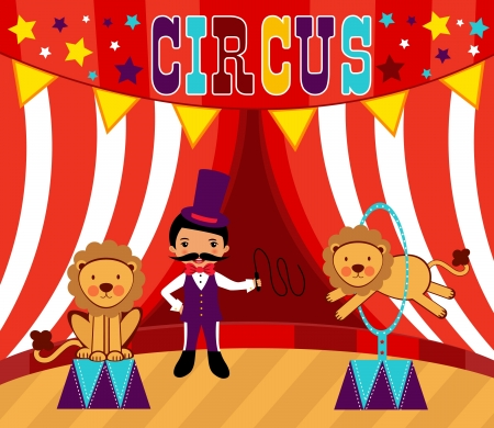 Tamer and lions circus performance Vector