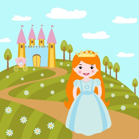castillos de princesas: Cute little princess Vectores