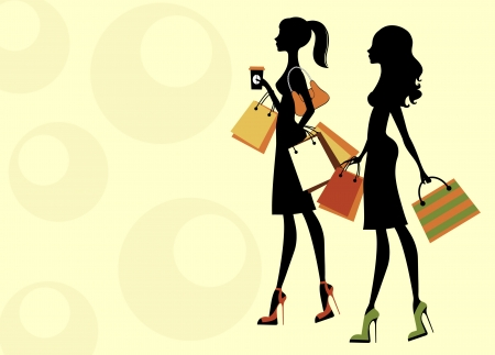 Two chick women shopping Stock Vector - 14929711