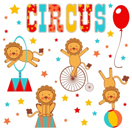 Colorful circus lions Vector