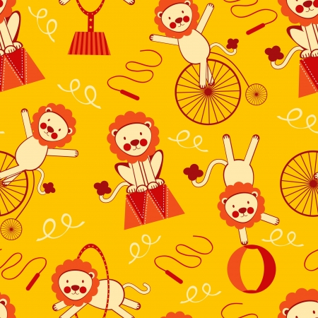 Cute circus lions seamless pattern Vector