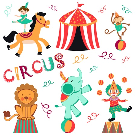 circus performer: Cute circus set Illustration