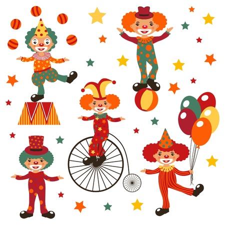 juggling: Payasos felices Vectores