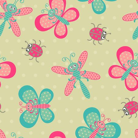 Cute bugs seamless pattern Vector