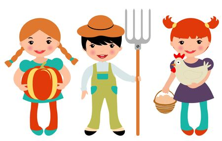 Little farmers set Vector