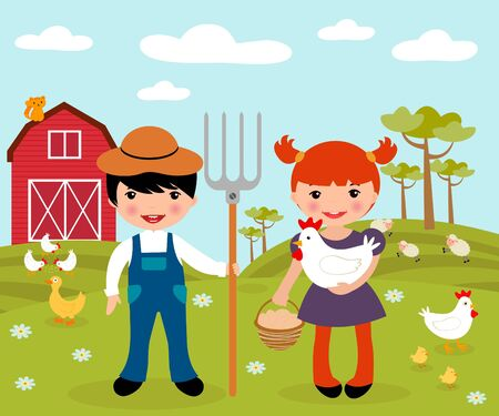Cute little farmers at a farm Stock Vector - 16131460
