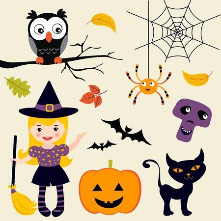 broomstick: Halloween set Illustration