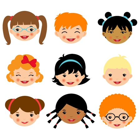 Cute kids faces collection Vector