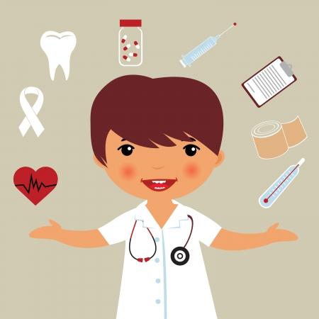 nurse injection: Piccolo dottore Vettoriali