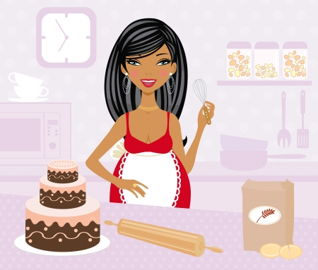 Pregnant woman cooking Vector
