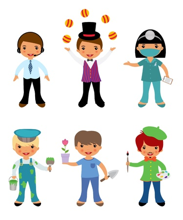 A cute set of kids dressed as professionals Vector