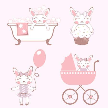 Cute set of  baby-bunnies  Vector