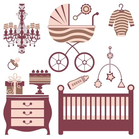 Stylish baby shower icons collection Illustration