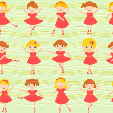 Colorful seamless background made of cute little ballerinas Vector