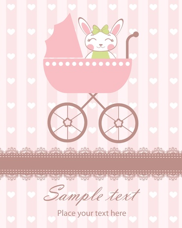 Cute baby arrival card with a bunny-girl in a pram Stock Vector - 14973181