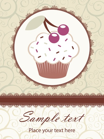sample text: A card template with cupcake Illustration