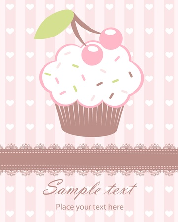 baby girl arrival: Cute baby girl arrival announcement card with cupcake