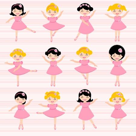 tanzen cartoon: Eine nette Reihe von sch�nen Ballerinen Illustration