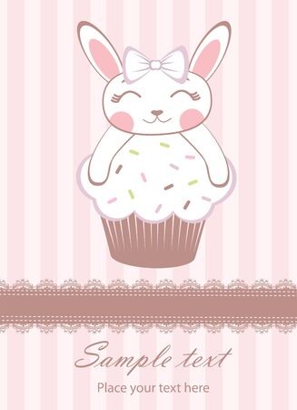 Bunny girl on cupcake  new baby arrival announcement card Stock Vector - 14973177