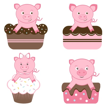 An illustration of cute pigs on cakes Vector