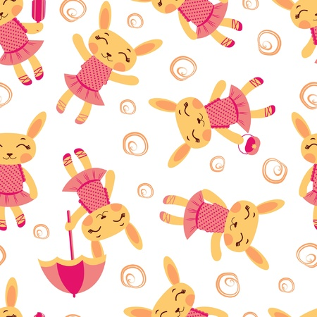 Cute rabbit girls seamless pattern Vector