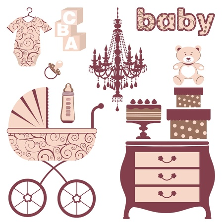 An elegant baby shower icons set Vector