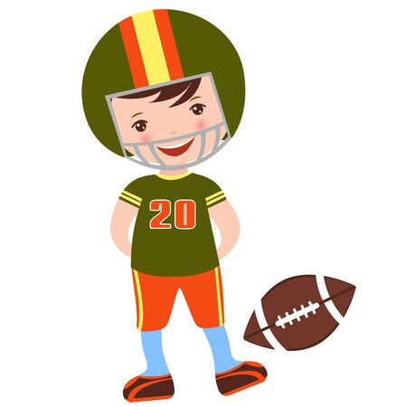 sport cartoon: An illustration of little football player