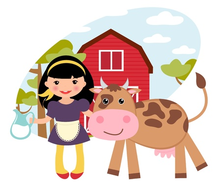 An illustration of cute girl and cow at a farm Vector
