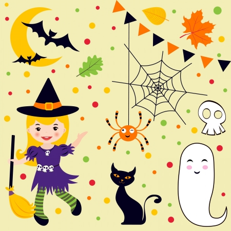 A cute Halloween fun set Vector