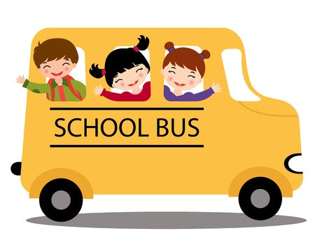 An illustration of happy kids in school bus