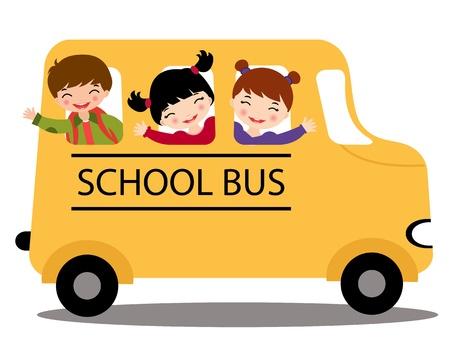 cartoon school girl: Una ilustraci�n de ni�os felices en autob�s escolar