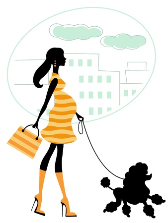poodle: An illustration of a beautiful pregnant woman walking with poodle
