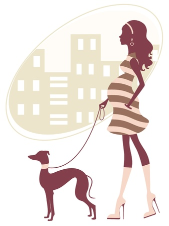 An illustration of a beautiful pregnant woman walkig with grayhound Vector