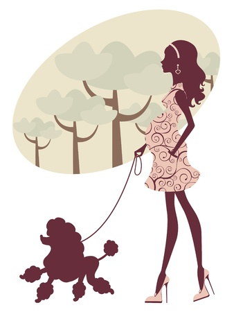 An illustration of a beautiful pregnant lady walking with her poodle Vector