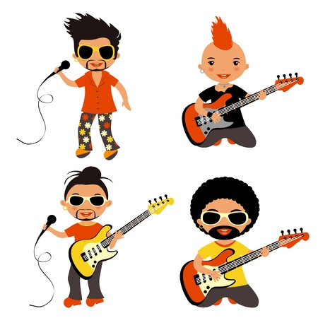 Cute set of different rock stars Vector