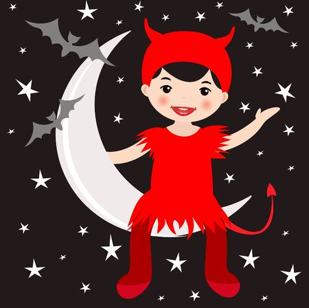 An illustration of a cute girl in devil costume sitting on the moon Vector