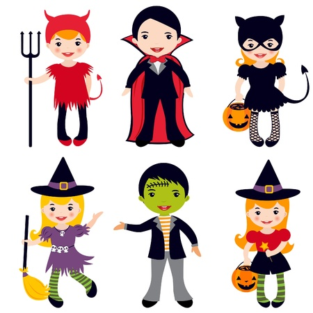 broomstick: An illustration of kids in halloween costumes Illustration