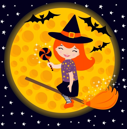 An illustration of cute little witch flying in the sky Vector