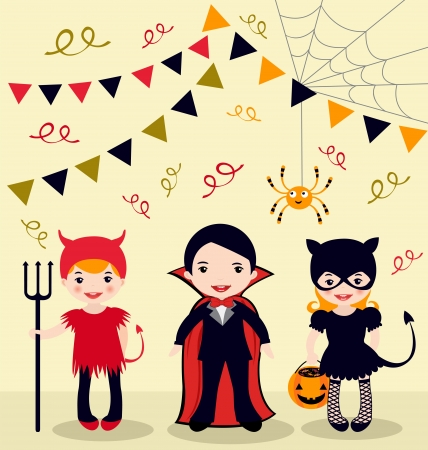 An illustration of Halloween party kids Vector