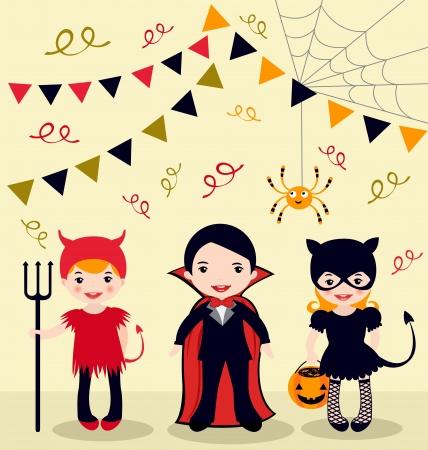 halloween party: Een illustratie van Halloween Party Kids