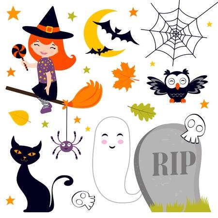 broomstick: Happy Halloween set