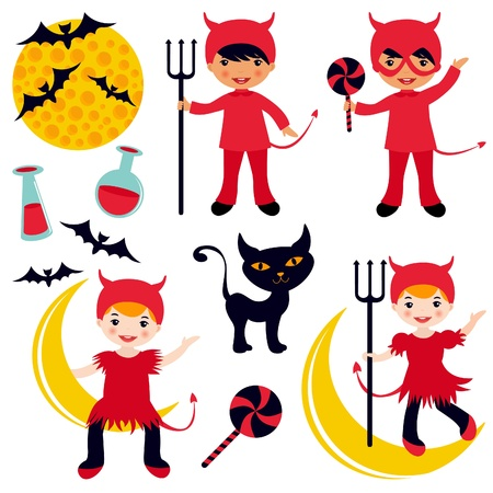 Cute collection of little devils Stock Vector - 14973189